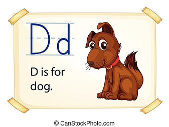 Letter D - Illustration of a flashcard letter D