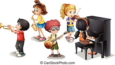 Band - Illustration of many children playing musical...