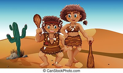 Stone Age people - Stone age couple in the desert
