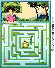Maze - Illustration of a maze with fairy tale background