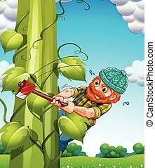 Beanstalk - Old man trying to cut beanstalk