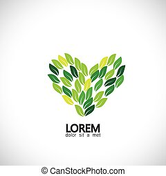 green leaves as heart shape, nature love - eco concept...