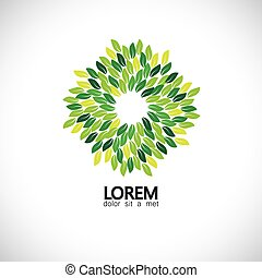 stylized green leaves icons arranged in circle - eco concept...