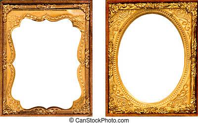 TWO ANTIQUE GOLD METAL PICTURE FRAME