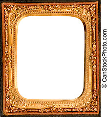 ANTIQUE DAGUERREOTYPE METAL FRAME - ornamental gold metal...