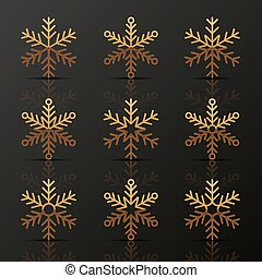 Set of golden snowflakes