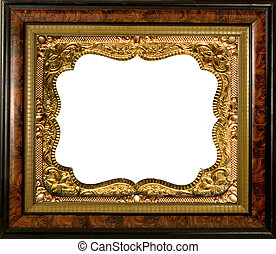ANTIQUE EMBELLISHED PICTURE FRAME - antique fancy wood frame...