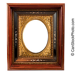 ANTIQUE EMBELLISHED PICTURE FRAME - vintage wood and...