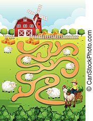 Maze - Illustration of a maze puzzle with farm background