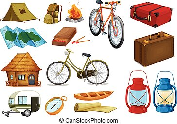 Adventure - Camping tools and objects on white