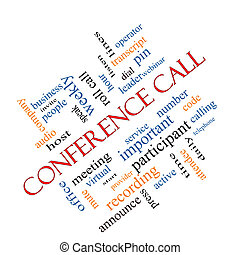 Conference Call Word Cloud Concept Angled - Conference Call...