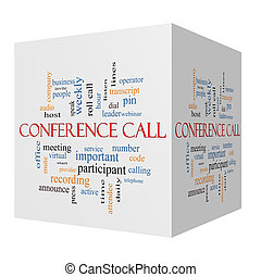 Conference Call 3D cube Word Cloud Concept with great terms...