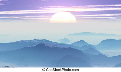Sunrise in the misty mountains - Mountain covered with snow...