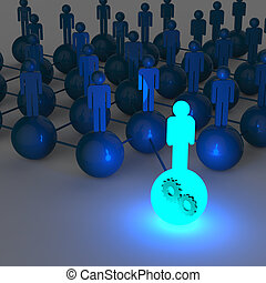 3d light growing human social network and leadership with...