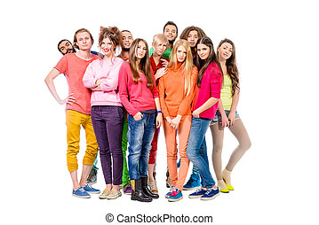 many colored - Large group of cheerful young people. Full...