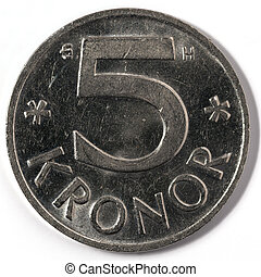 Macro closeup of Swedish five krona