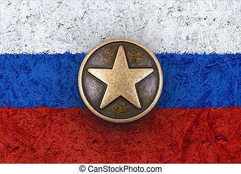 Bronze star on Russian flag in background