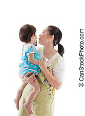 Asian mother carrying and soothe her daughter on white...