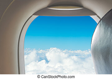 View from airplane window to see sky on day time