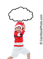 Little asian boy in santa hat funny acting isolated on white