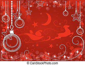 red Christmas background, vector illustration