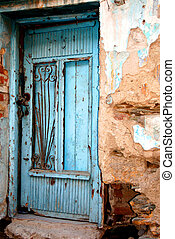 Old front door from a Greek traditional village house