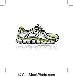 Sport sneakers, sketch for your design Vector illustration