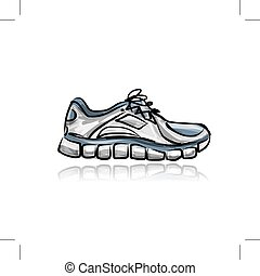 Sport sneakers, sketch for your design. Vector illustration