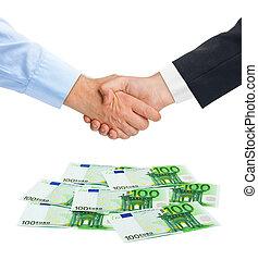 Handshake and money euro