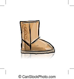 Winter boots ugg, sketch for your design