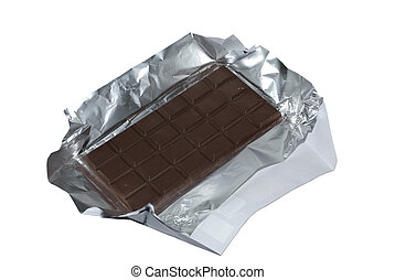 Milk chocolate with foil and wrapper isolated on white...