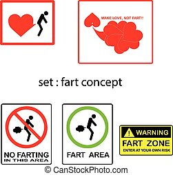 vector set of fart concept with signs and symbols.