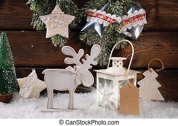 invierno, escena, con, de madera, reno, y, linterna, para,...