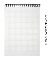 Empty page of notebook with binder isolated on white background. Copy space. Clipping path.