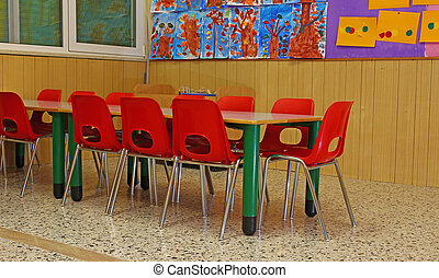 little chairs and benches of a school for young children -...