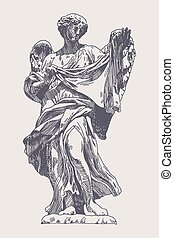 ink drawing marble statue of angel - original sketch ink...