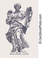 ink drawing marble statue of angel - original sketch ink...
