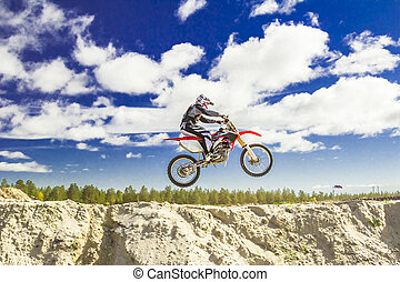 motocross - Young athletes train on motodrome sports bikes...