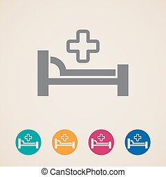 vector icons with bed and cross hospital sign