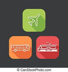 flat icons for web and mobile applications with public transport (flat design with long shadows)