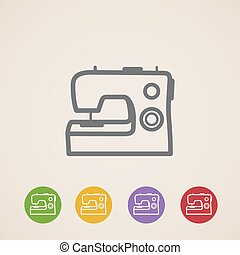 vector sewing machine icons