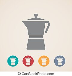 vector coffee pot icons
