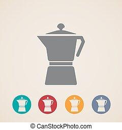 vector coffee pot icons