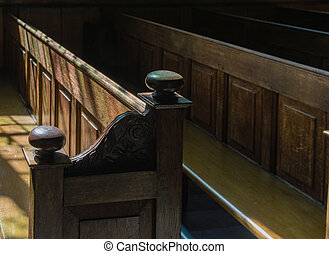 Church Pews - Row of Church Pews in a Church