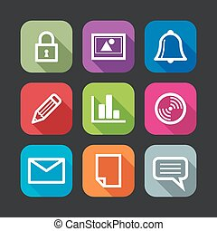 flat icons for web and mobile applications (flat design with long shadows)