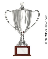 Silver trophy cup on wood pedestal with blank silver plate...