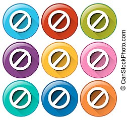 Colourful circle buttons with locks