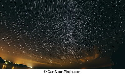 Star Trail Galaxy Spins in Stunning Night