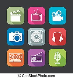 flat icons for web and mobile applications with creative...