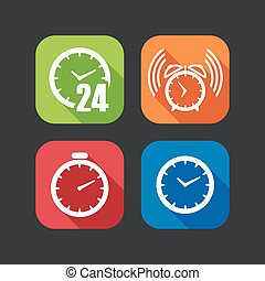 flat icons for web and mobile applications with clocks (flat...